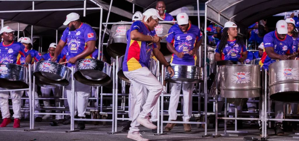 NGC Steel Xplosion members perform at THA Pan Champs last week at the Dwight Yorke Stadium, Bacolet. The band will be in action on Sunday in the National Panorama medium band finals at the same venue.  - DAVID REID