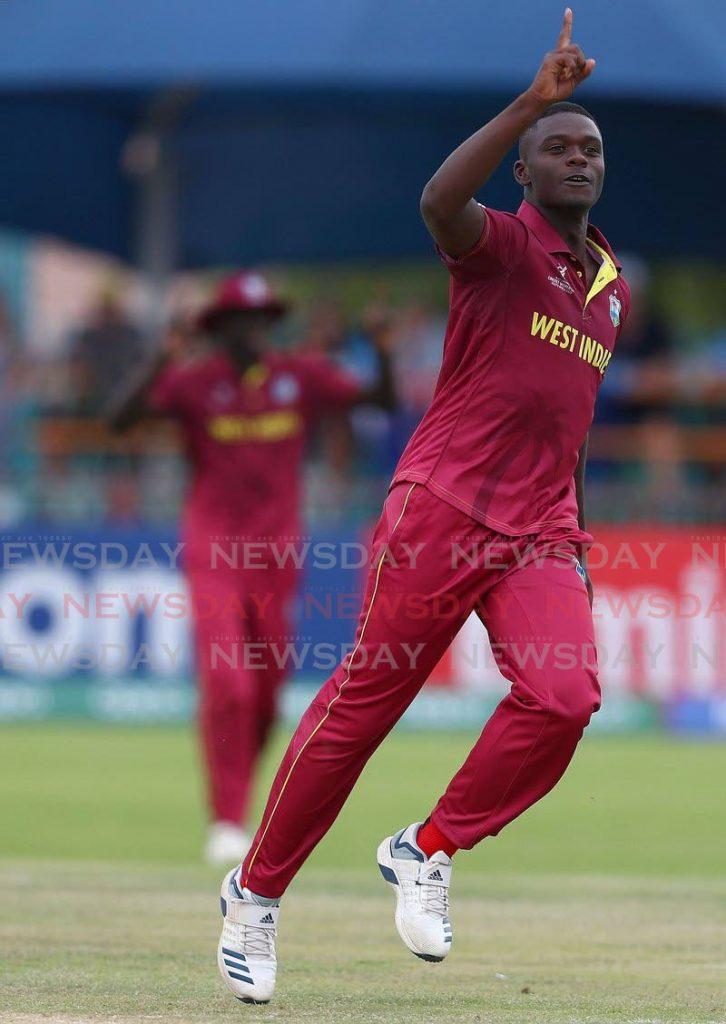 West Indies U19 fast bowler Jayden Seales. -
