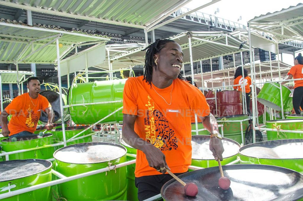 Members of Pan Elders enjoy themselves during the steelband's performance at the semifinals of the medium band category of the Panorama competition at the Queen's Park Savannah on February 9. - Warren Le Platte