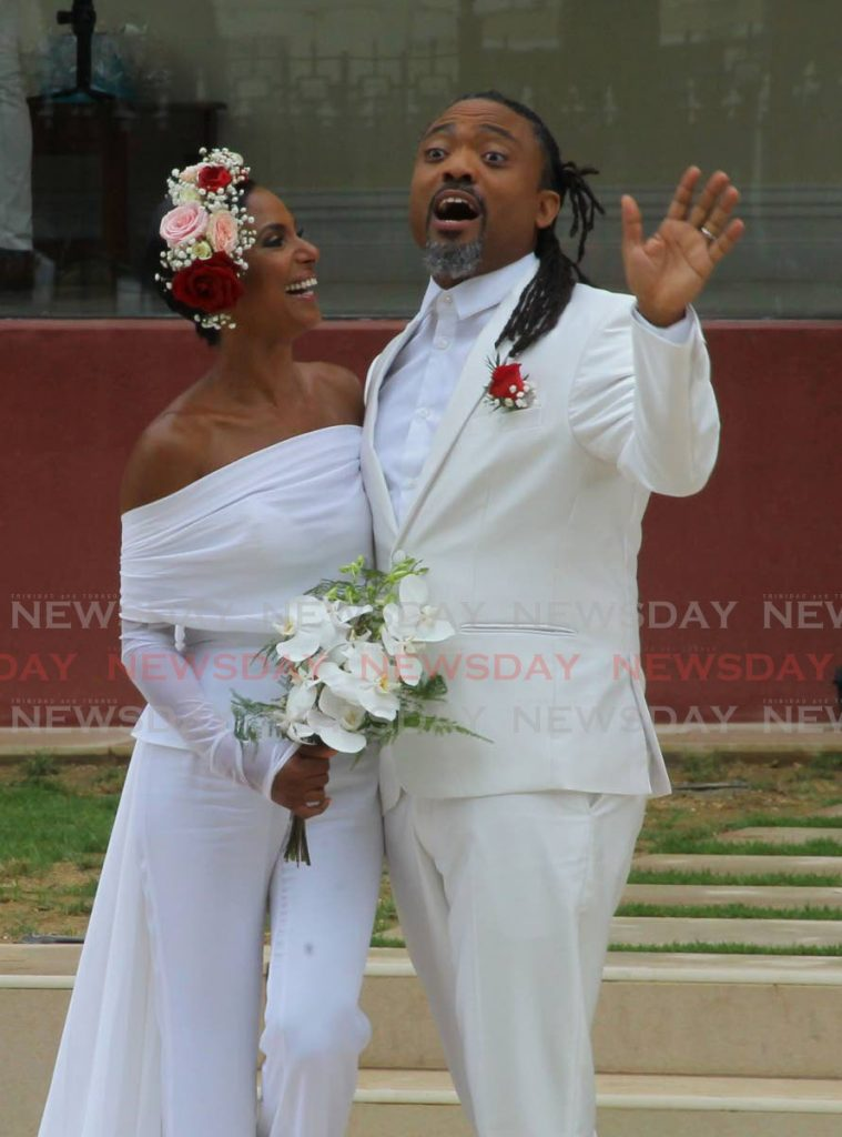 Machel Montano and his bride, Renee Butcher, 'tied the knot' in the first wedding ceremony at the newly renovated Red House Building,  Abercromby Street, Port of Spain on Friday- ROGER JACOB