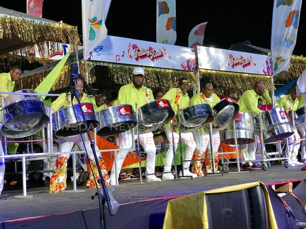 Courts Sound Specialists of Laventille got the National Panorama medium band finals under way on Sunday evening with Merchant's Ah Feeling To Rock at the Dwight Yorke Stadium, Bacolet. PHOTO BY DAVID REID  - DAVID REID