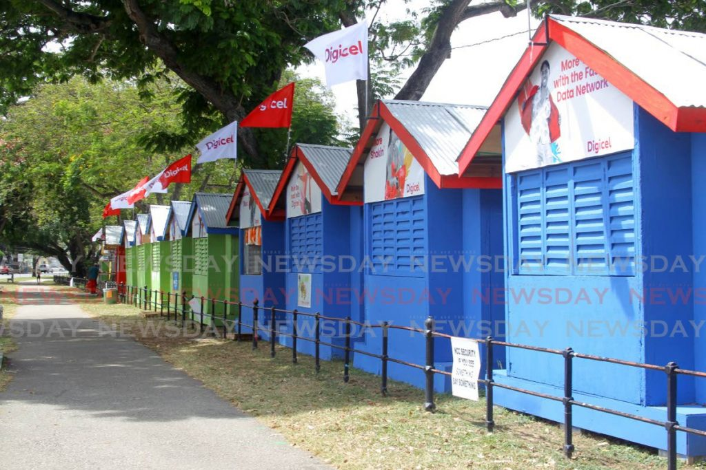 Some of the vending booths at the Queen's Park Savannah, Port of Spain. The vendors Business Day spoke to claim many of the booths remain unoccupied due to a number of problems. - ROGER JACOB