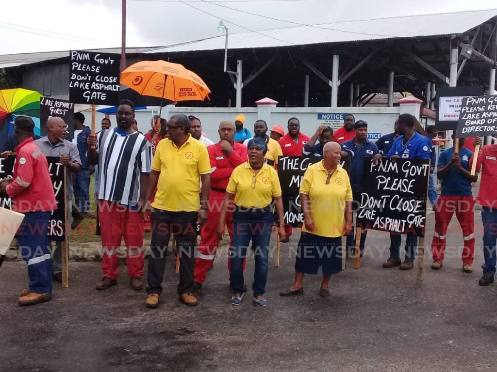 Lake Asphalt workers staged an early morning protest outside the company's compound, La Brea. -