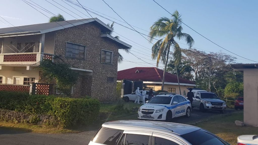 Police on the scene where a body was found -