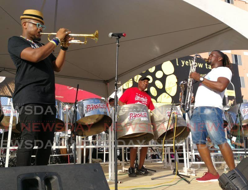 """Trumpeter Etienne Charles, left, Len """"Boogsie"""" Sharpe, and Barbadian saxophonist Romaro Greaves will perform in Another Phase virtual concert being staged by HADCO Phase II Pan Groove on Sunday. -"""