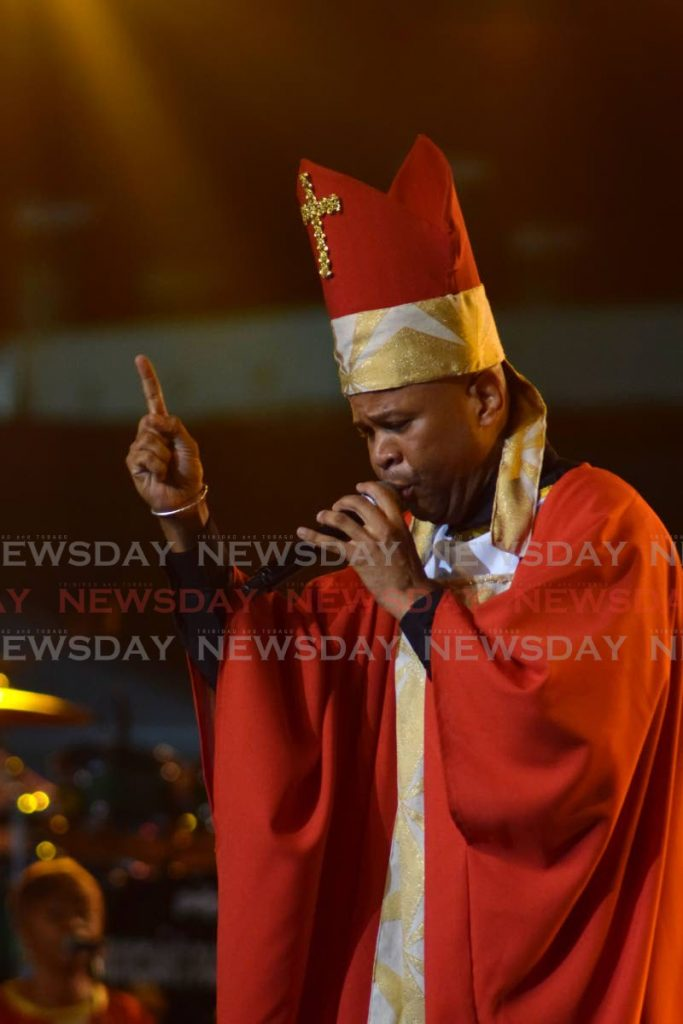 Duane O'Connor sings Not in Here, a commentary on the fashion show at Holy Trinity Cathedral, during the 2020 Calypso Monarch finals, Queen's Park Savannah, Port of Spain. - Vidya Thurab