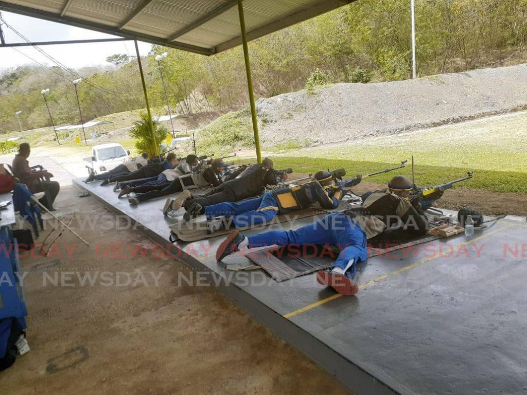 Shooters in action at the shooting range in Claxton Bay recently. -
