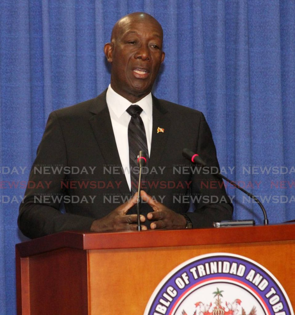 Prime Minister Dr Keith Rowley speaks to media at the Diplomatic Centre, St Ann's, on Thursday. -