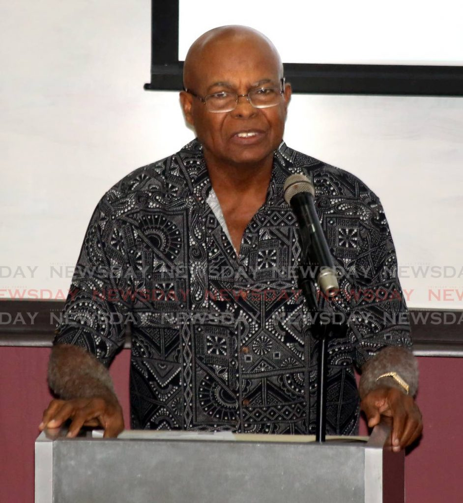 Retired justice Selwyn Romilly speaks at the University of the West Indies (UWI) St Augustine Faculty of Law panel discussion mindset change and crime prevention: how seeing the other can reduce crime and ignite economic growth, at the Noor Hassanali Auditorium, UWI on Thursday. - Sureash Cholai