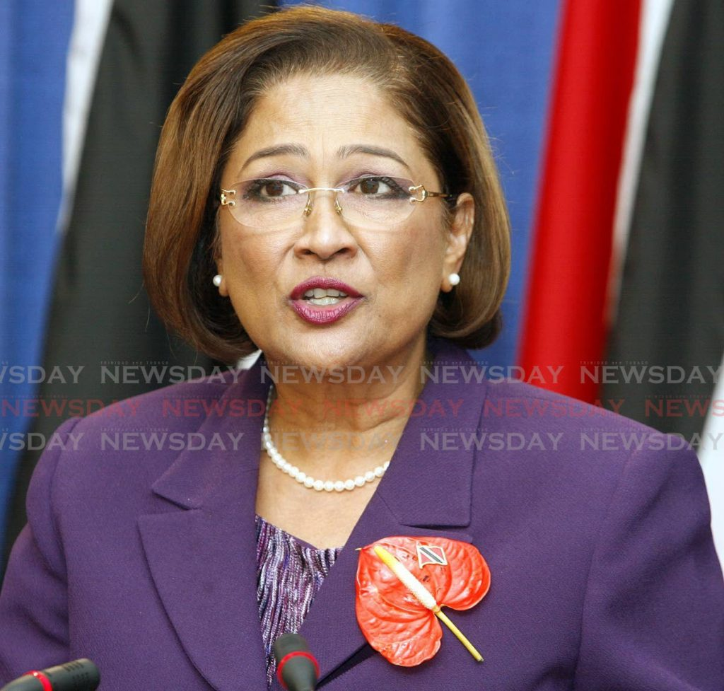 Opposition Leader Kamla-Persad Bissessar. -