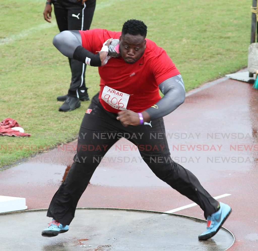 In this July 27,2019 file photo, Akeem Stewart gets set to throw the shot put at the 2019 NGC/NAAATT National Open Championships, at the Hasely Crawford Stadium, Mucurapo. - Angelo Marcelle