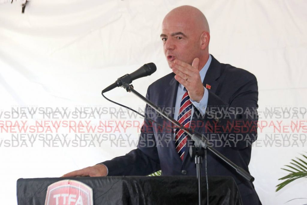 Fifa president Gianni Infantino speaks at the opening of the Home of Football in Couva in November last year. PHOTO BY MARVIN HAMILTON  -