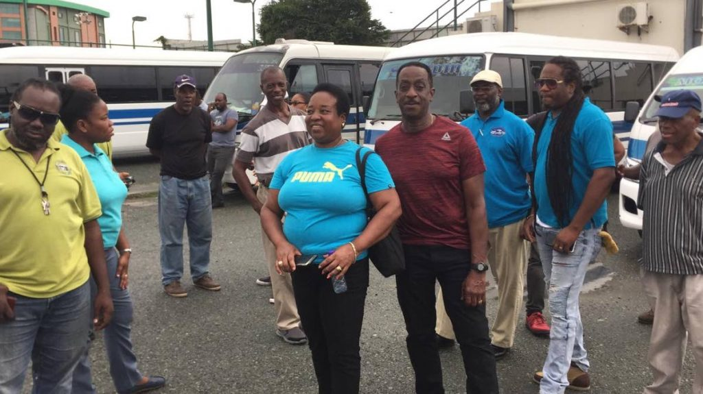 Tobago maxi taxi drivers in a protest last year for unpaid wages. -