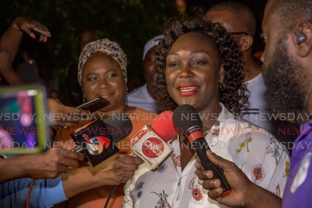 Tracy Davidson-Celestine talks to the media after being elected the PNM Tobago Council's first female political leader last month. - DAVID REID