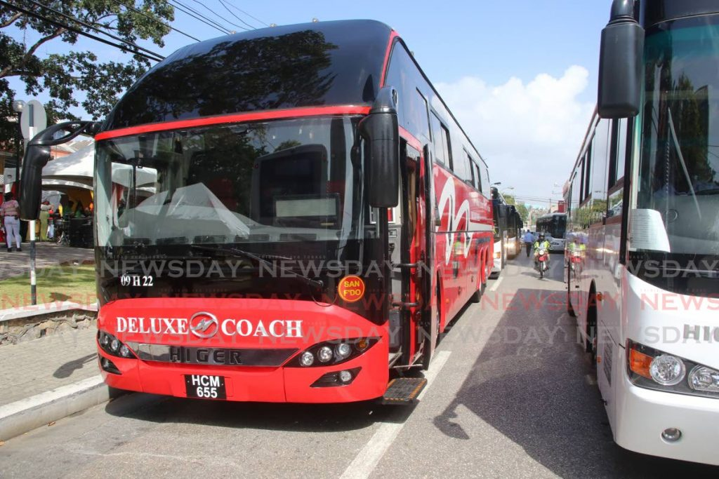 New PTSC buses at Independence Square in Port of Spain. - SUREASH CHOLAI