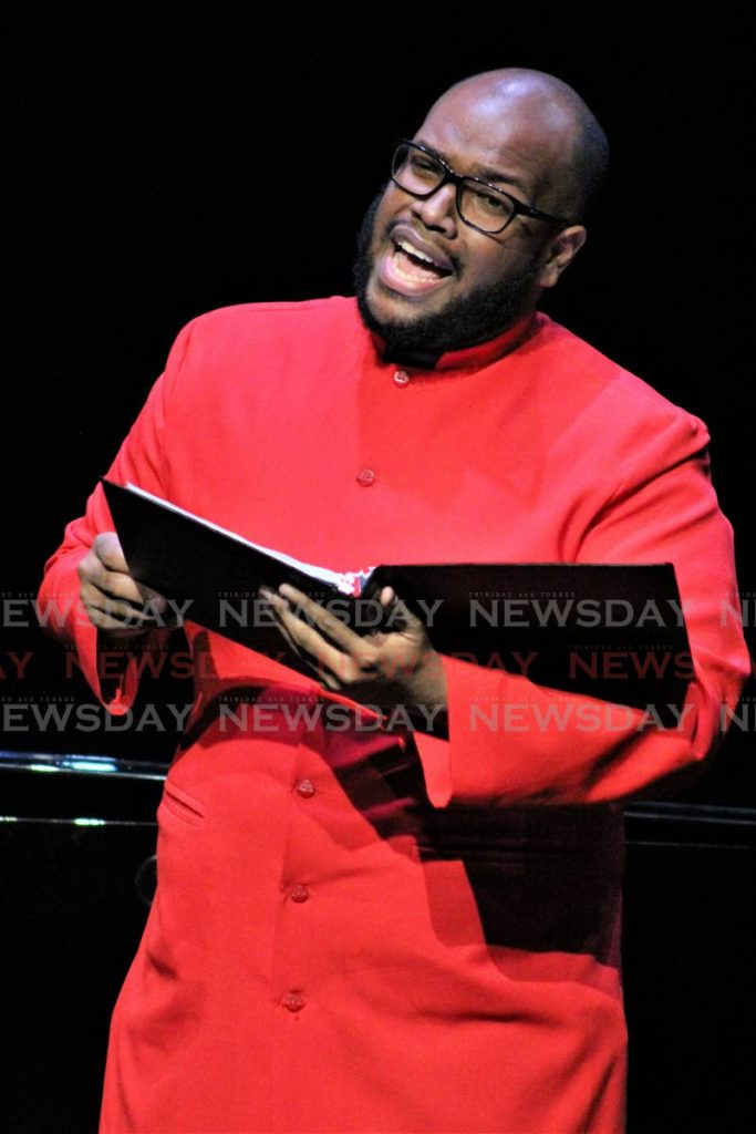 POWER VOCALS:  Cory Mendez won the Men's Vocal solo, at the Music Festival, Queen's Hall, St Ann's on Friday. PHOTO BY GARY CARDINEZ -