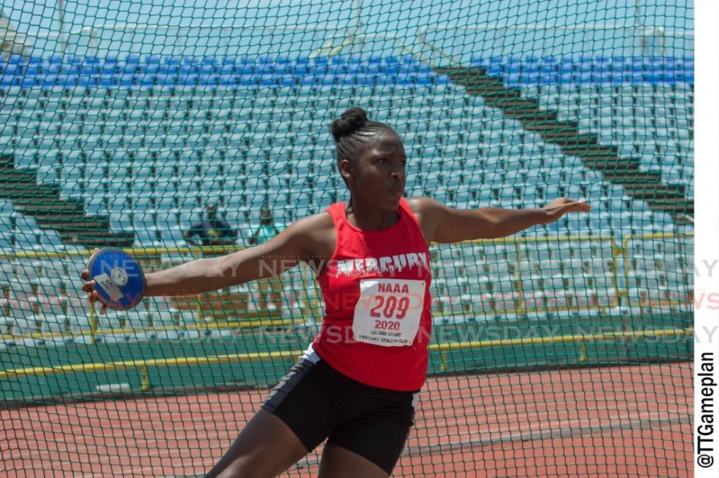 Lalenii Grant of Mercury threw the discus 36.58m on Sunday at the NAAA 2020 Carifta trials at the Hasely Crawford Stadium, Mucurapo. PHOTO BY DENNIS ALLEN FOR @TTGAMEPLAN - Dennis Allen for @TTGameplan