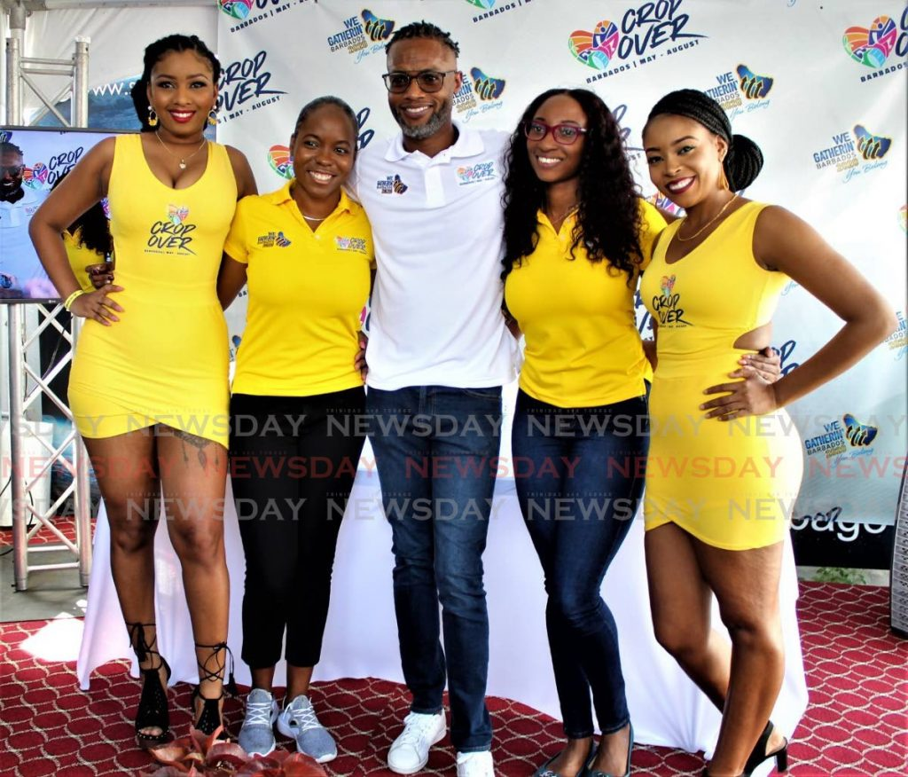 The Barbados contingent pose at Synergy TV in Woodbrook, during the launch of the Love Crop Over global campaign of  the Barbados Tourism Inc (BTMI) and the National Cultural Foundation (NCF). - Gary Cardinez