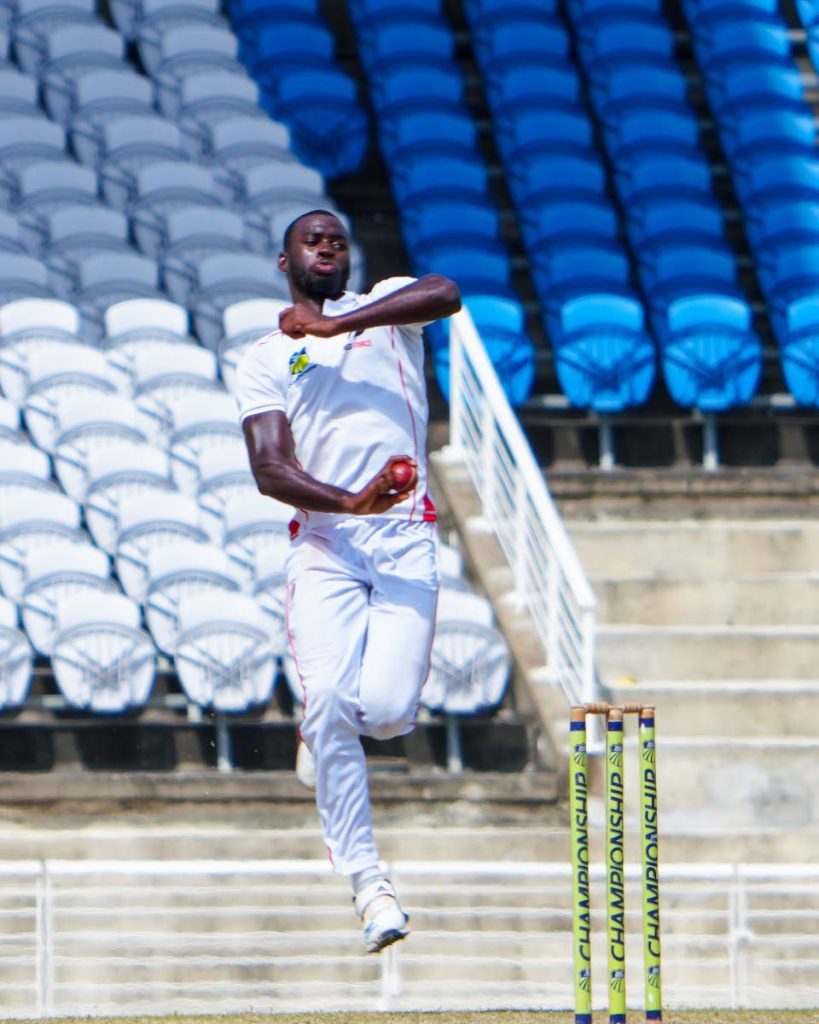 TT Red Force's Anderson Phillip prepares to deliver a ball during day four of the West Indies Four Day Championship match against the Barbados Pride at the Brian Lara Cricket Academy, Tarouba, on Sunday. - Daniel Prentice/CA-images