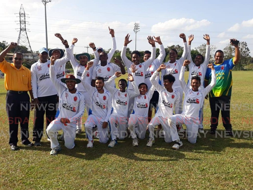 Shiva Boys Hindu College cricket team celebrate their first-ever PowerGen Secondary Schools Cricket League (SSCL) premiership division crown, at PowerGen Grounds, Penal, last Tuesday, after beating Hillview College by 82 runs.  - Jonathan Ramnanansingh