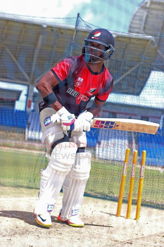 TT Red Force skipper Darren Bravo looks to play a shot during a training session,at the Brian Lara Cricket Academy, Tarouba, on Wednesday.  - Marvin Hamilton