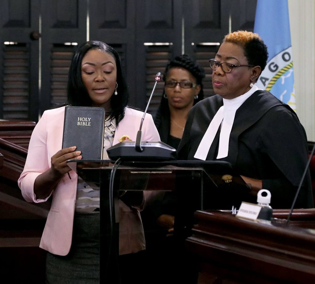 PNM Tobago Council political leader Tracy Davidson-Celestine is installed as a councillor in the Tobago House of Assembly at the Assembly Legislature in Scarborough on Wednesday. THA PHOTO -