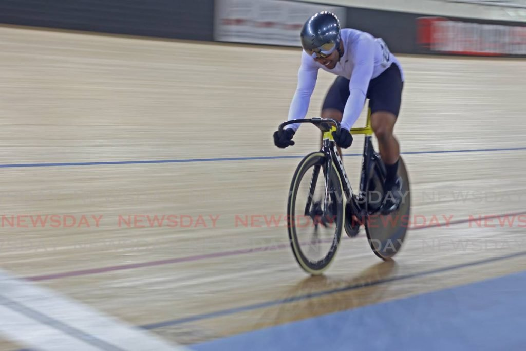 World record holder Nicholas Paul, of Central Spokes club, races to the finish line to win the Elite Men's sprint title, at the National Track Cycling Champions 2020, at the National Cycling Centre, on Wednesday night. - Marvin Hamilton