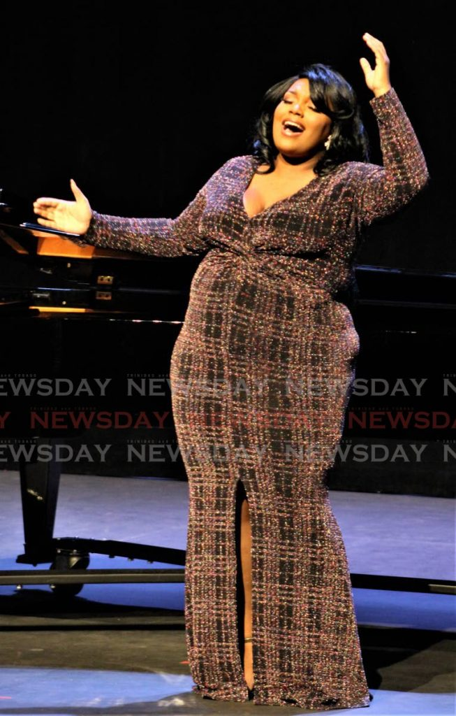 Mekelia Muller performs at the Music Festival at Queen's Hall, Port of Spain, on Thursday. Muller won the musical theatre solo category. - Gary Cardinez