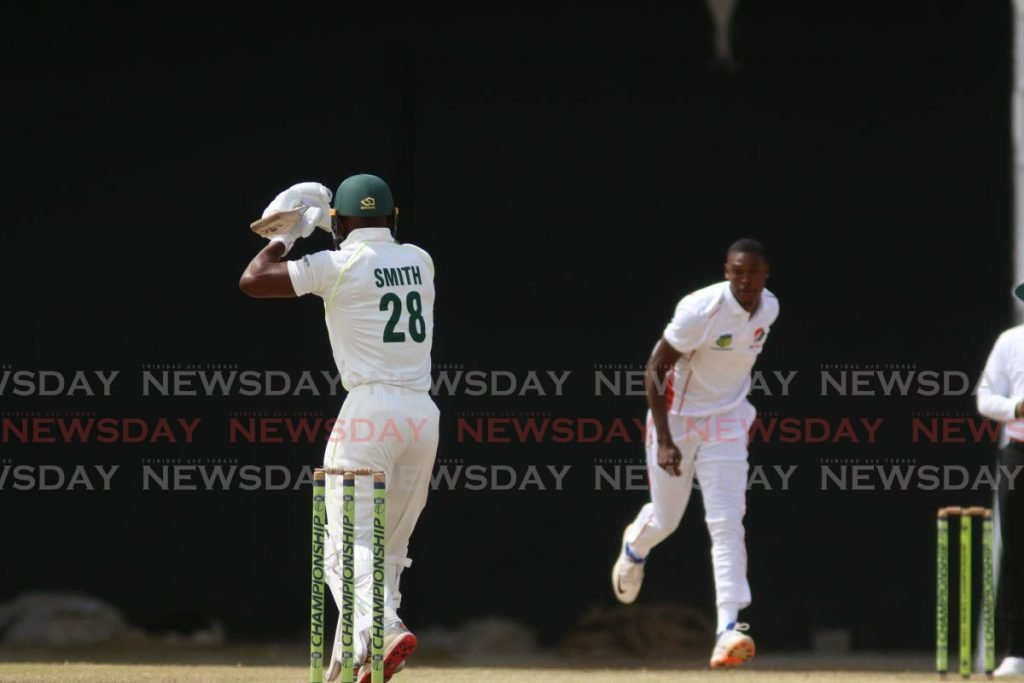 Volcanoes batsman Devon Smith faces Red Force bowler Uthman Muhammad during a match at the Brian Lara Cricket Academy, Tarouba on Saturday morning. - Marvin Hamilton