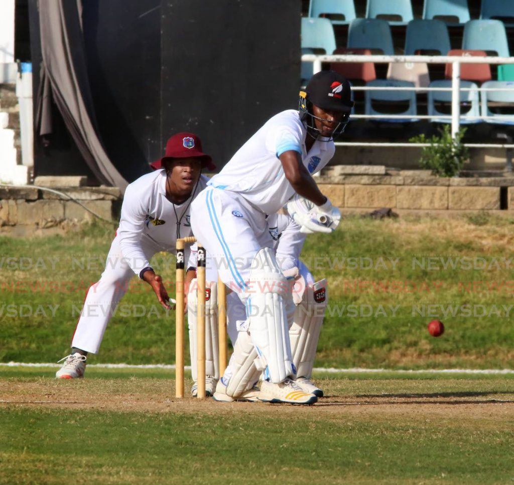 Queen's Park I batsman Jeremy Solozano is about to play a shot against Preysal at the Queen's Park Oval in St Clair, on Saturday.  PHOTO BY SUREASH CHOLAI -