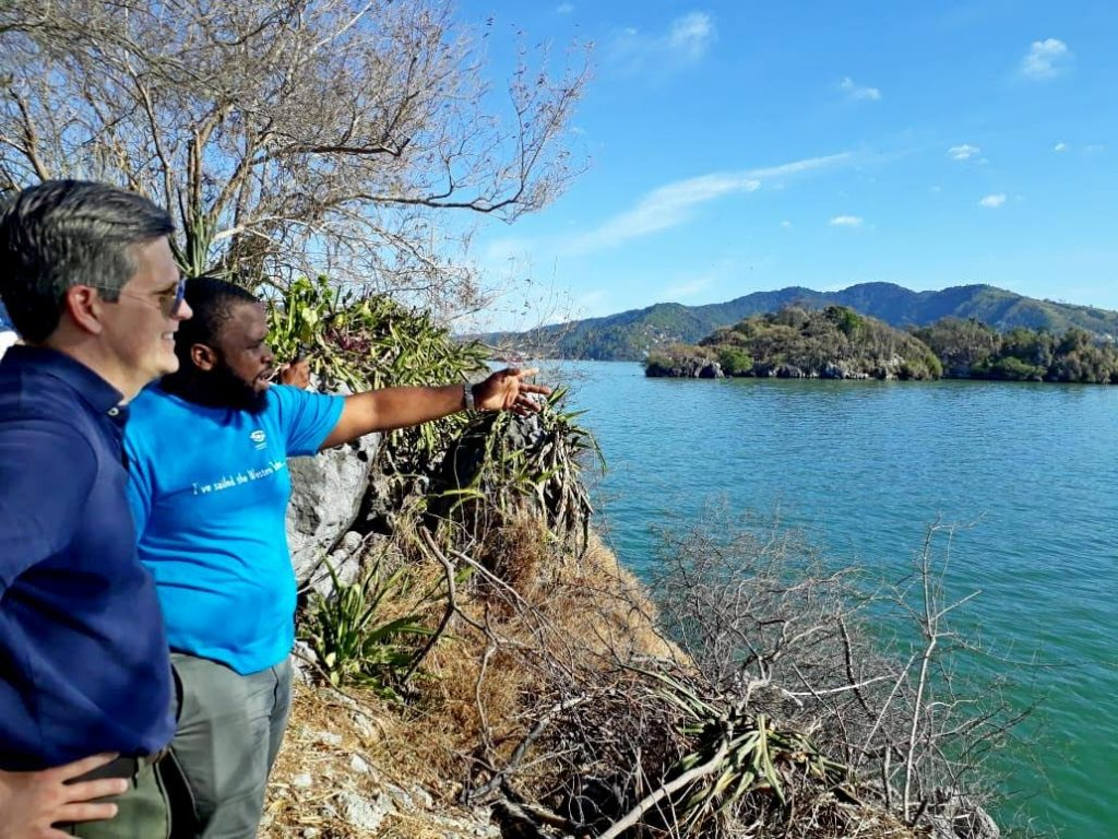 Morris Hylton, left, and Ashleigh Morris, heritage preservation officer, on tour of Nelson Island Heritage site overlooking Caledonia Island. -