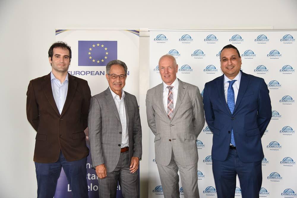 EU programme manager Juan Luis Molinuevo, Eximbank chairman John Tang Nian, Head of Delegation, EU, Ambassador Aad Biesebroek,  and Eximbank CEO Navin Dookeran at the project launch meeting between the EU Delegation to TT and the Eximbank.  -