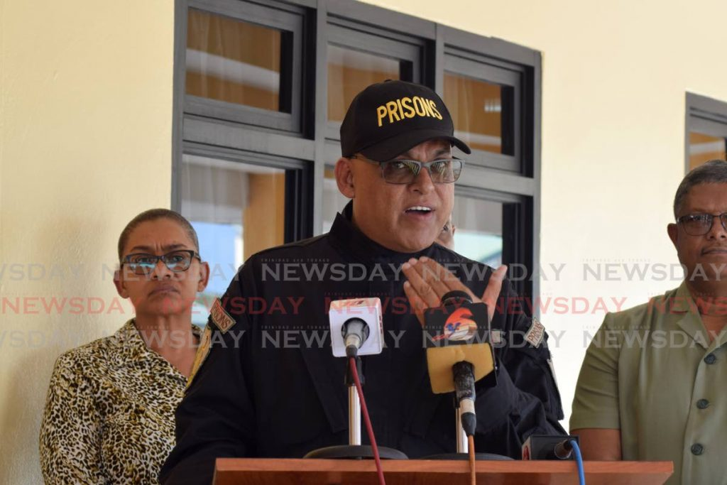 Acting Prisons Commissioner Dennis Pulchan speaks to the media on Wednesday, one day after prisoners rioted at the remand section of the Arouca prison.       - Vidya Thurab