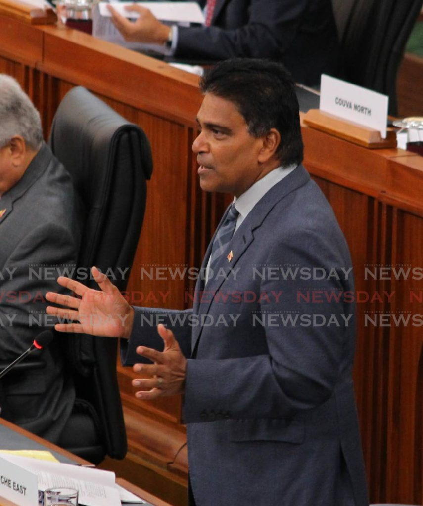 MP for Oropouche East Dr Roodal Moonilal dusing the special sitting of the House of Representatives on Friday. - ROGER JACOB