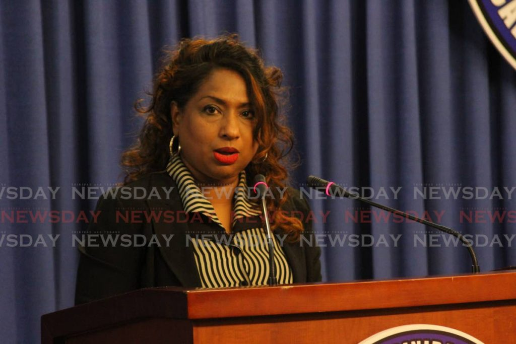 Assistant director of CARPHA Dr Lisa Indar at Friday's media briefing at the Diplomatic Centre in St Ann's. -