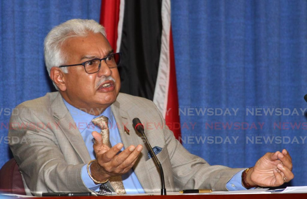 Minister of Health Terrence Deyalsingh speaks at post cabinet media briefing at the Diplomatic Centre, St Ann's, on Monday. - ANGELO MARCELLE
