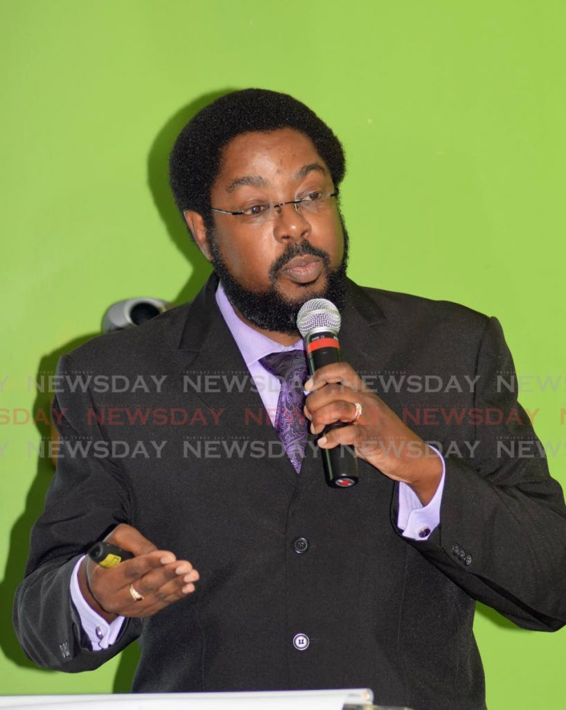 Epidemiologist Dr Avery Hinds speaks at a press briefing at the Ministry of Health, Port of Spain, on Tuesday. - Vidya Thurab