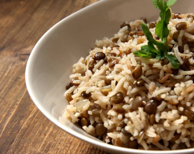 Spiced rice with lentils -