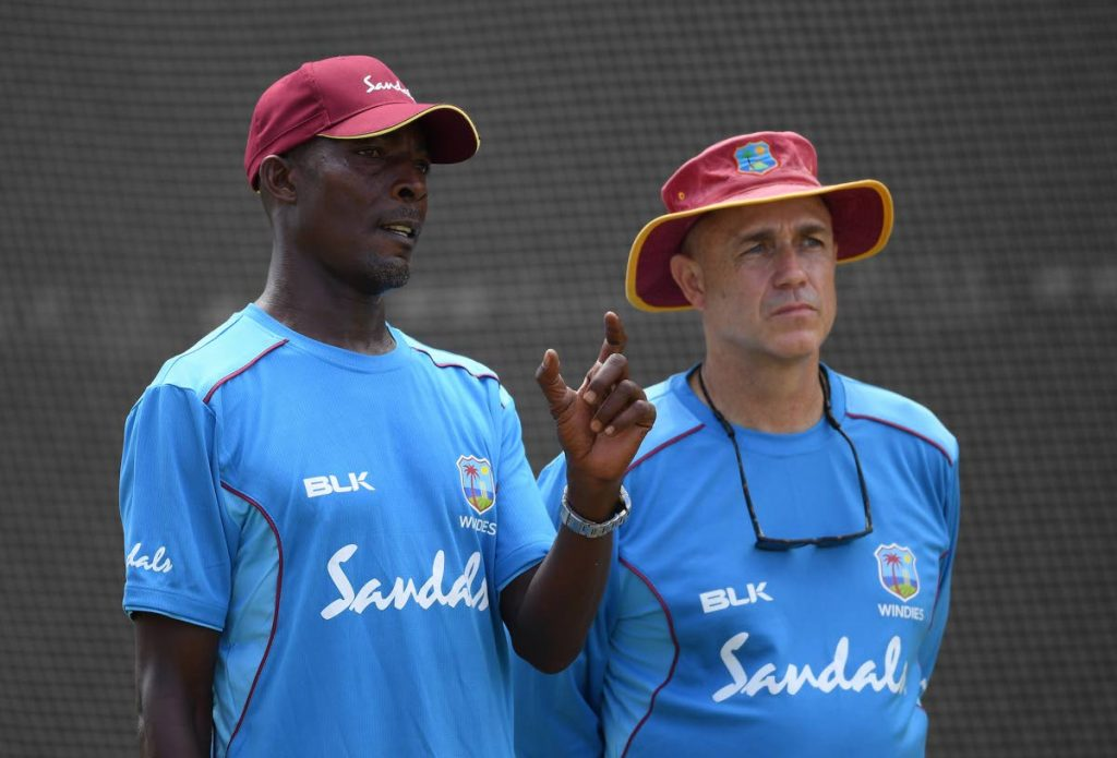 In this Jan 19, 2019 file photo, then West Indies head coach Richard Pybus, right, talks with bowling coach Vasbert Drakes during net practice at Kensington Oval in Bridgetown, Barbados.  - CWI Media