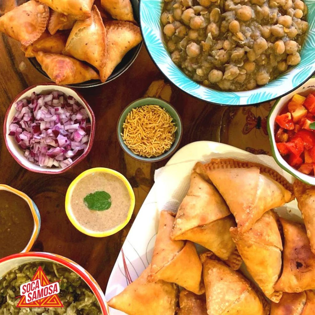 Soca Samosas best served with delicious toppings and sides. Photos courtesy Liza Yunis -