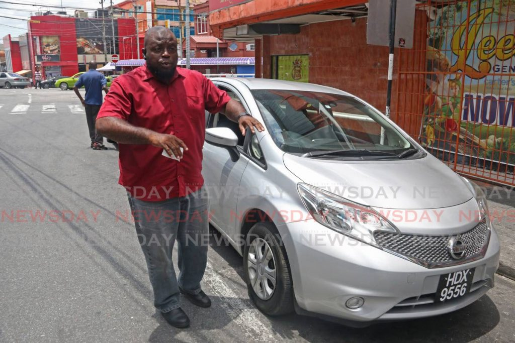 President of Marabella Taxi Association Shervon Marshall at the Marabella taxi stand on Point-A-Pierre Road, San Fernando, last Thursday. - Marvin Hamilton