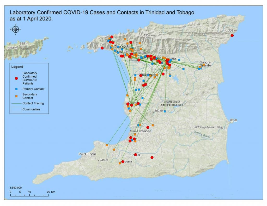 MAPPED OUT: This map, displayed at the Health Ministry's press briefing on Thursday, shows the covid19  cases in Trinidad and potential spread patterns if strict stay-at-home protocols are not adhered to. - MoH