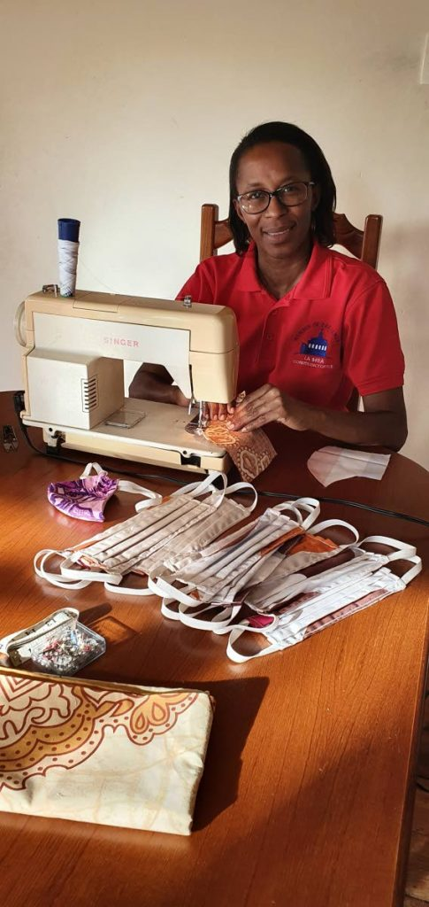 La Brea MP Nicole Olivierre sews face masks as part of her effort to combat the spead of covid19. -