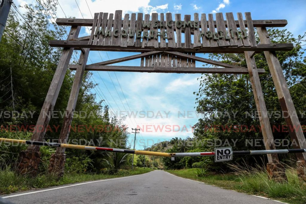 The entrance to the Macqueripe Beach Facility, Chaguaramas remains closed to the public by the Chaguaramas Development Authority (CDA) last Friday as Government implements stay-at-home measures to slow the spread of covid19. - JEFF K MAYERS