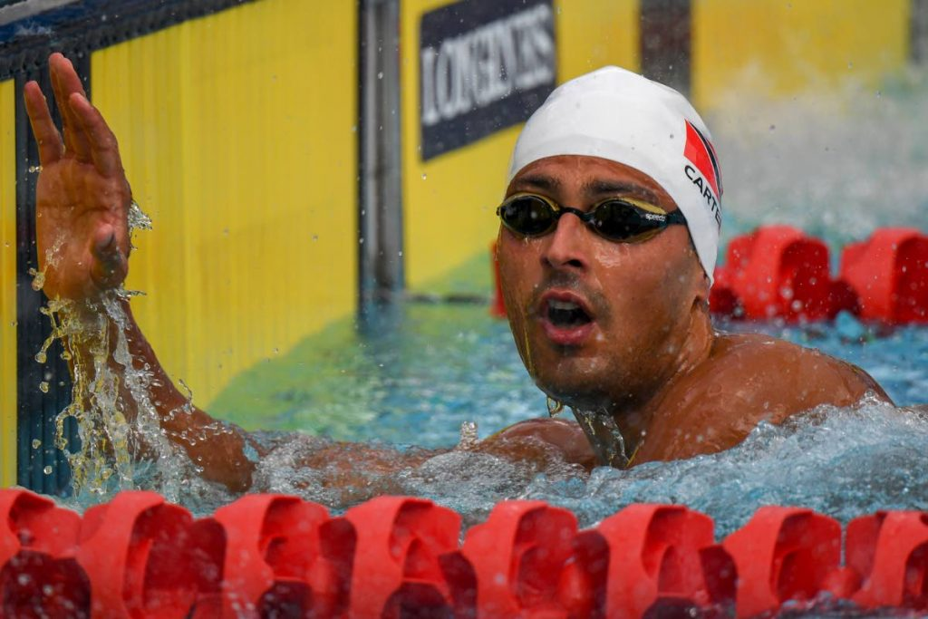In this April 5, 2018 file photo, TT 's Dylan Carter after the swimming men's 50-metre butterfly qualifications during the 2018 Gold Coast Commonwealth Games at the Optus Aquatic Centre in the Gold Coast, Australia. (AFP PHOTO) -