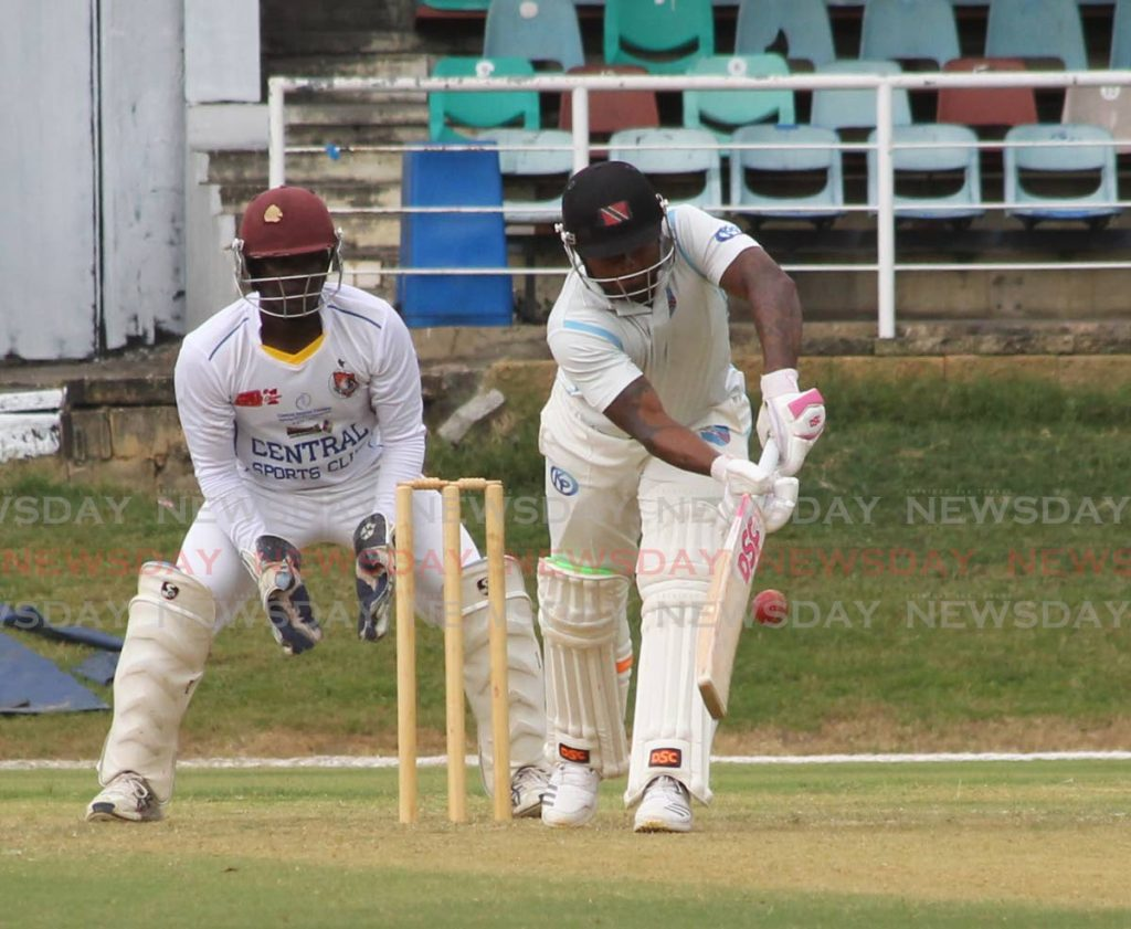 In this February 23, 2019 file photo, Queen's Park Cricket Club batsman Terrance Hinds plays a shot against Central Sports in National League action at the Queen's Park Oval in St Clair. PHOTO BY ROGER JACOB. - ROGER JACOB