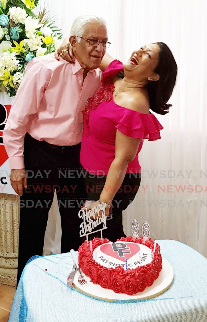 In this May 25, 2019 file photo Basdeo Panday celebrates his 86th birthday with his wife Oma at Marie Street, Chaguanas. On that day, his daughter Mickela launched the Patriotic Front political party. Panday turned 87 on Monday. PHOTO BY YVONNE WEBB -