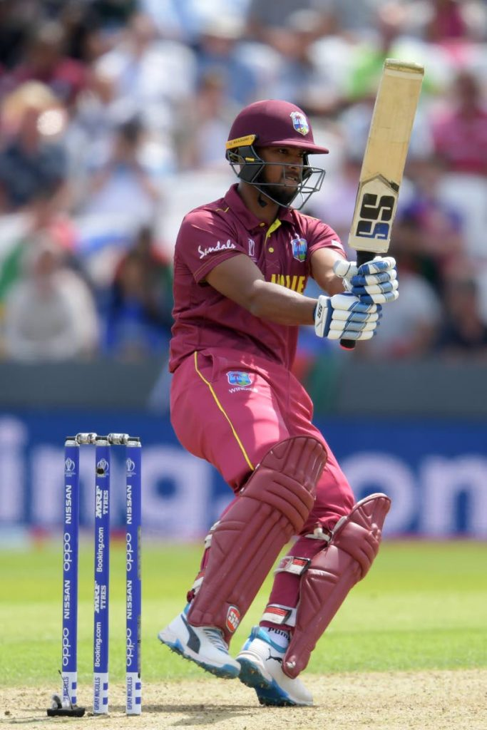 In this July 4, 2019 file photo, West Indies' Nicholas Pooran plays a shot during the 2019 Cricket World Cup group stage match against Afghanistan at Headingley in Leeds, northern England. (AFP PHOTO) -