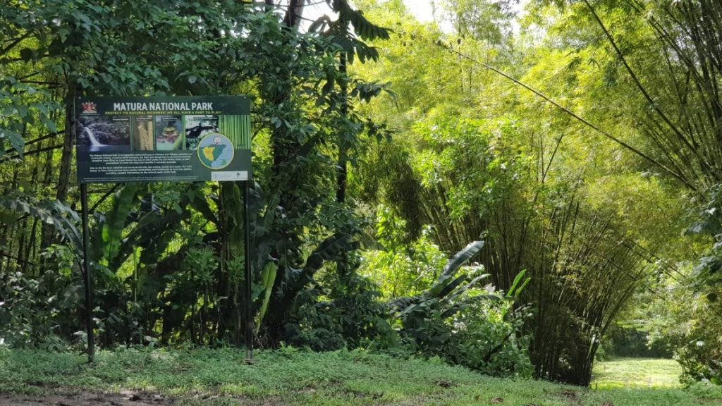 One of the main signs at Monte Video Zagaya Road, near the Matura National Park.  -