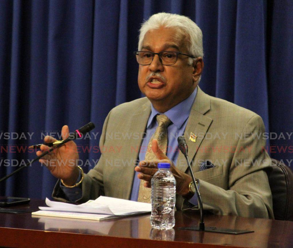 Minister of Health, Terrence Deyalsingh. -